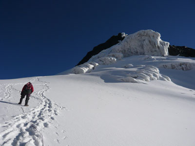 The snow at the Equator - Toward Margherita Peak. Photo James Potter 2007